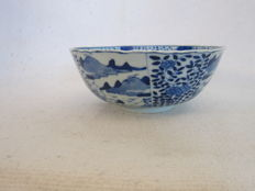 Beautiful, antique, Chinese, blue white porcelain bowl, marked – China – 19th century