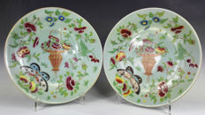 A pair of perfect celadon plates -  China - mid-19th century