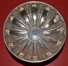 Big fruit bowl in silvery metal, France, 1890