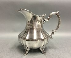 Silver plated water jug with classic garter on claw feet, Rose, U.S.A, ca 1925