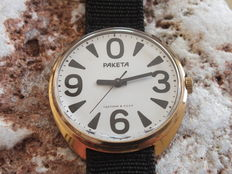RAKETA Goldplated Big Zero - Men's Handwinding Wristwatch - Vintage Soviet (USSR) 1980s
