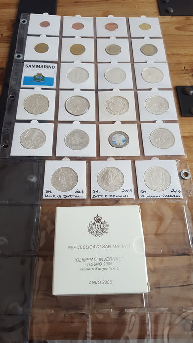 San Marino – 5 and 10 euro 2003/2015 + series of various years + 2 euro 2011 coloured (16 items), including silver, among other things