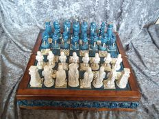 Beautiful Mexican lava stone chess set with chessboard - rarely on offer