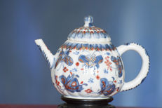 Ribbed  teapot with Butterflies  - China - Kangxi (1661- 1722)