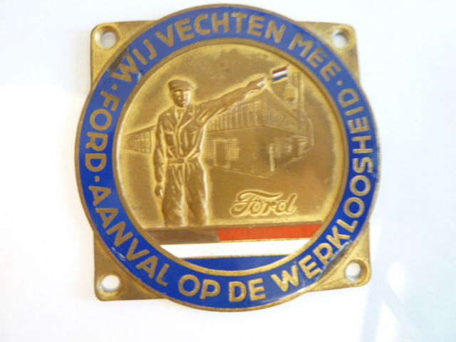 Original special badge (plaque) Ford Amsterdam