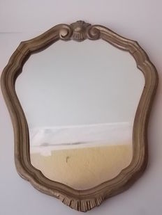 Ancient Baroque and Rococo gilded mirror in Italian walnut wood from the 1900s
