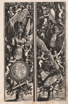 Jean Le Pautre (1618-1682) ( attributed)  -  Ornamental panels with Roman emperors - Ca.1650