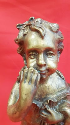 beautiful bronze statue girl with doll - signed