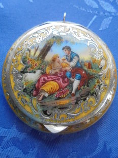 Antique Sterling silver enamel painting with guilloche jewellery / powder box, medallion 1890 to 1910