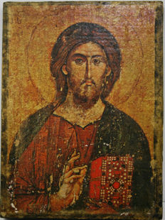 Rare, old icon of Christ as the Pantocrator on wood, 20th century