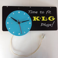 KLG plugs - Smiths electric garage wall clock on aluminium advertising sign - 46 x 20 cm - around 1950