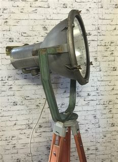 Large German searchlight on wooden tripod, ca. 1940, Germany,