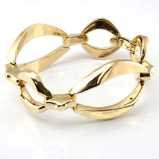 Elegant bracelet articulated made in yellow gold with oval motifs – Length 19 cm
