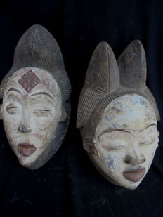 Lot of two POUNOU masks Gabon