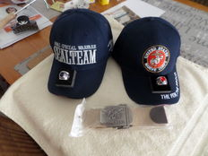 2 rings of U.S. Navy and U.S. Marine, 2 baseball caps Marine & Navy and a U.S. belt  Seals