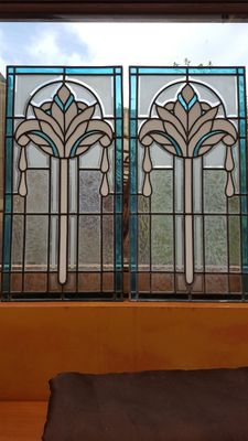 Two stained glass windows in Art Deco style - 20th century - Belgium