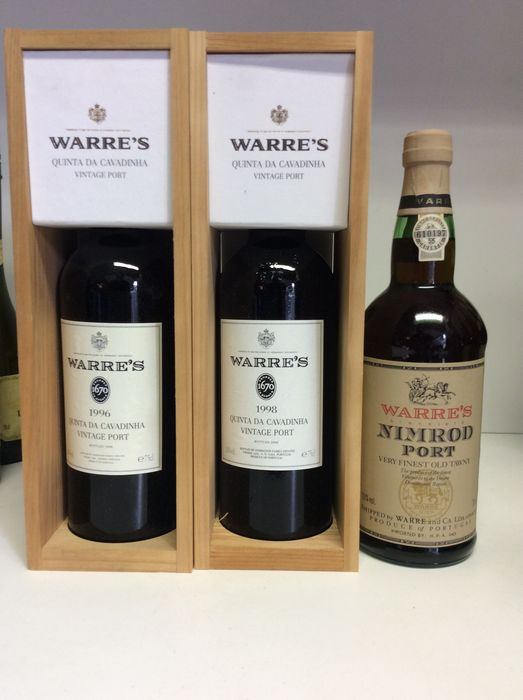 2x 1996 Vintage Port Warre's Quinta da Cavadinha OWC & 1x NV 70s/80s Warre's Nimrod Very Finest Old Tawny Port – 2 bottles 0.75 l & 1 bottle 0.7 l