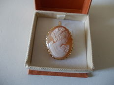 Brooch / pendant, with cameo and gold.