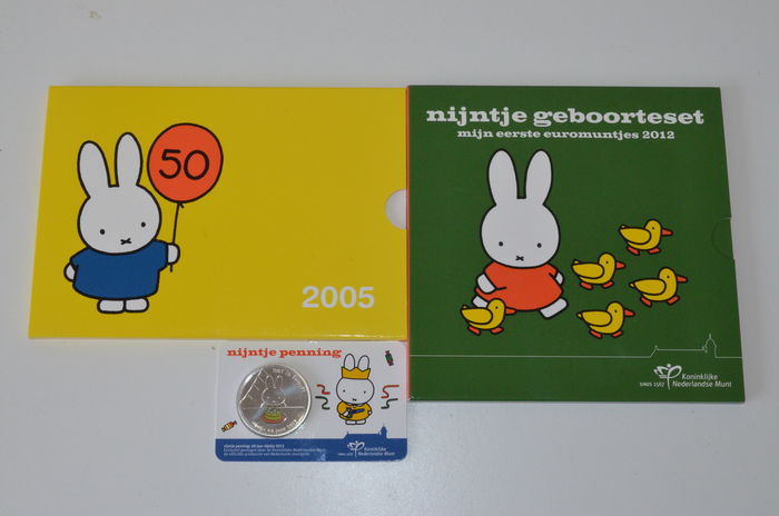 The Netherlands - Two Nijntje (Miffy) birth sets from 2005 and 2012 and Nijntje medal 2015