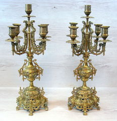 Set of two large brass 5 light openwork Baroque candlesticks - France - ca. 1880