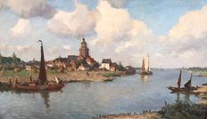 Johannes Embrosius van Wetering de Rooy 1877-1972 - Water landscape with church on a river