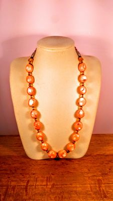 Pink Coral Beads Necklace, 148gr , Necklace length 66cm