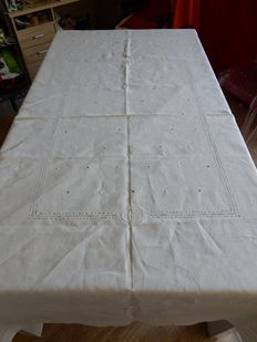 Beautiful and old large rectangular tablecloth white linen - two monograms - days handmade embroidery - France