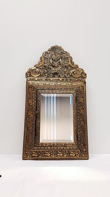 Brass complete brush box / mirror with floral decorations.