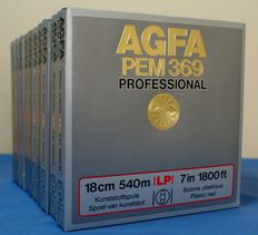 10 AGFA PEM369 LP Professional reels in black PVC for tape recorder.