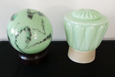Two Art Deco style ceiling lamps - soft-green glass with bakelite, 1st half of 20th century