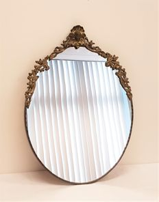Mirror with copper crest - 2nd half 20th century - The Netherlands