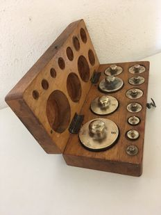 Antique oak weights box, the Netherlands, ca. 100 years old