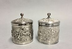 Two silver plated Douwe Egberts tea boxes, Netherlands, ca 1960