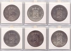 The Netherlands - 2½ Guilder 1869/1874 William III (6 different coins) - Silver
