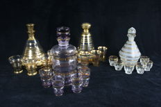 4 x glass Art Deco liqueur set with decanter + stopper and glasses, including Booms/Bohemian