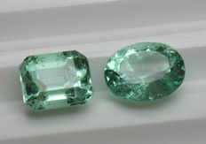 Two Emeralds - 3.28 ct total