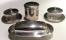 2 dishes for jam - 1 butter dish - 1 sugar box - silver plated