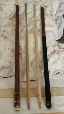 "Two ""classic"" carom billiard cues, Belgium-Italy, 1960/1970"