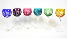 Peill & Putzler - a set of six cut crystal wine glasses - Germany - second half 20th century