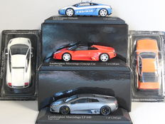 Atlas/Minichamps - Scale 1/43 - Lot with 5 Lamborghini models: 2 x Gallardo, 2 x Murcielago & Urraco