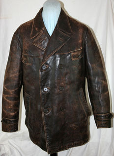 Very rare dark brown leather jacket - aviator, fighter squadron