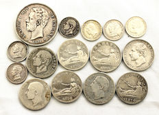 Spain – Lot of 15 silver coins – 19th century – Madrid