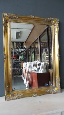 Large mirror with facet-cut glass - Hand-gilded - Antique gold - Baroque