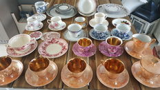 Various porcelain cups and saucers