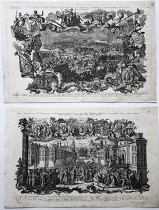 Two prints by Klauber Brothers (18th century) - Historical and religious scenes - ca. 1757
