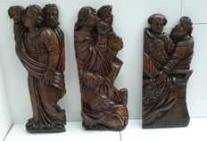 Three large oak reliefs of apostles - France - approx. 1880