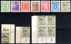 Soviet Zone 1945 - Mecklenburg-Western Pomerania and Brandenburg - collection with Michel 1-7B and printing errors