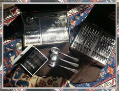 """Christofle -France- """"PERLES"""" model silverware set - 76 pieces, for 12 people - Louis XVI style"""