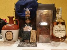 4 bottles - Grand Old Parr decanter - Chivas 21 years old Royal Salute blue decanter - Cardhu single malt - President Special Reserve