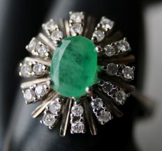 14kt. White gold ring with natural Emerald and natural 8/8 cut diamonds approx 1,2Ct.
